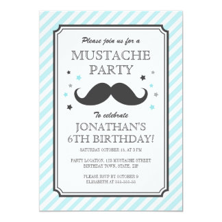 Aqua teal stripe mustache bash kids birthday party 5x7 paper invitation card