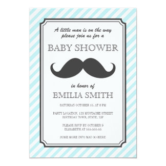 Aqua teal stripes retro mustache bash baby shower card