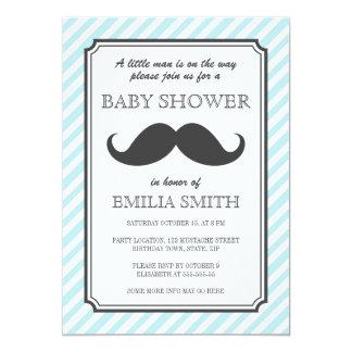 Aqua teal stripes retro mustache bash baby shower card