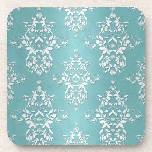 Aqua Teal Turquoise and White Floral Damask Coaster