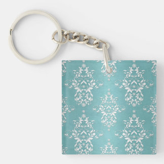Aqua Teal Turquoise and White Floral Damask Keychain