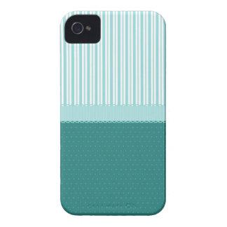 Aqua Teal Turquoise Blue Stripes Polka Dots Case-Mate iPhone 4 Case