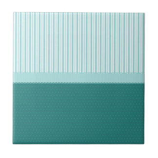 Aqua Teal Turquoise Blue Stripes Polka Dots Ceramic Tile