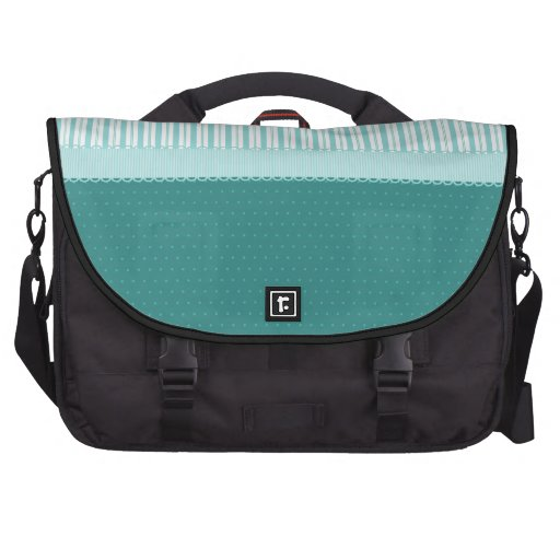 Aqua Teal Turquoise Blue Stripes Polka Dots Laptop Commuter Bag