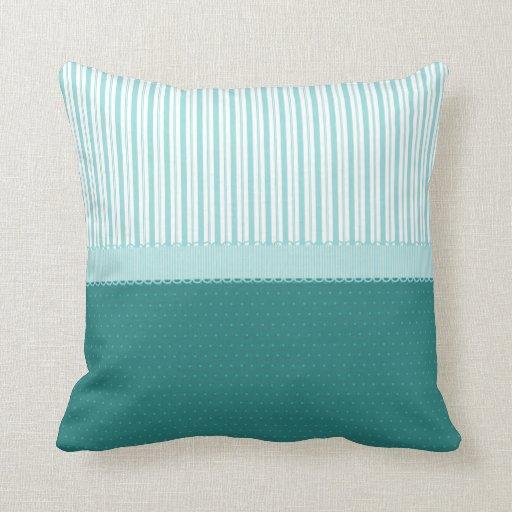 Aqua Teal Turquoise Blue Stripes Polka Dots Throw Pillow Zazzle