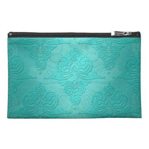 Aqua Teal Vintage Grunge Damask Pattern Travel Accessories Bag