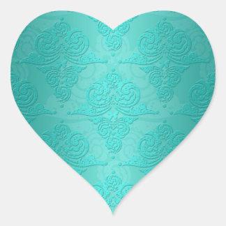 Aqua Teal Vintage Grunge Damask Pattern Heart Stickers