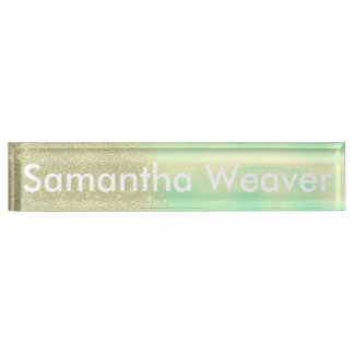 Aqua Teal Watercolor and Faux Glitter Mash Desk Nameplate