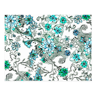 Aqua teal watercolor hand painted floral postcard