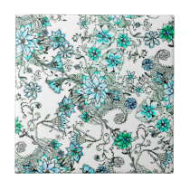 Aqua teal watercolor hand painted floral tile