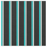 [ Thumbnail: Aqua, Teal, White & Black Colored Lines Fabric ]