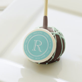 Aqua Text Monogram Wedding Cake Pop