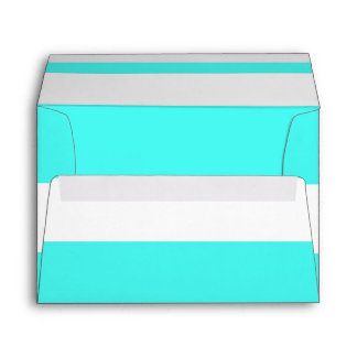 Aqua Thick Chunky Stripes Modern Party Invitation Envelope
