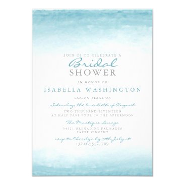 Beach Themed Aqua Tides | Watercolor Bridal Shower Card
