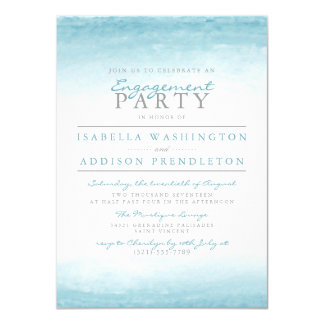 Aqua Tides | Watercolor Engagement Party Card