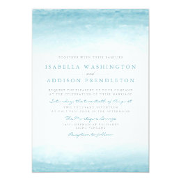 Aqua Tides | Watercolor Wedding Card