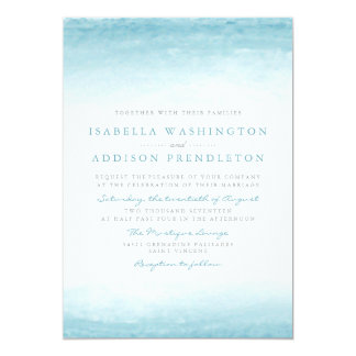 Aqua Tides Watercolor Wedding Card