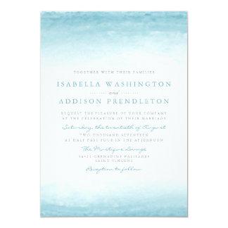 Aqua Tides | Watercolor Wedding Card