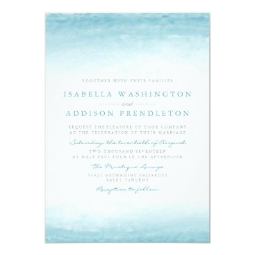 Beach Themed Aqua Tides | Watercolor Wedding Card