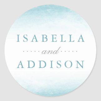 Aqua Tides | Watercolor Wedding Classic Round Sticker