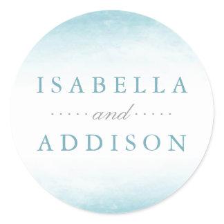 Aqua Tides   Watercolor Wedding Classic Round Sticker
