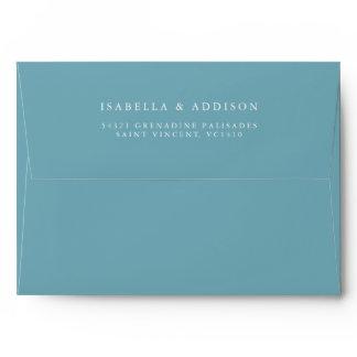 Aqua Tides   Watercolor Wedding Envelope