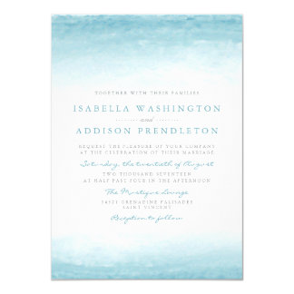Aqua Tides   Watercolor Wedding Invitation