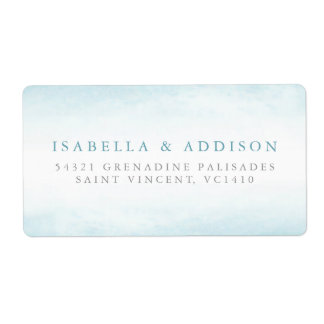 Aqua Tides | Watercolor Wedding Label