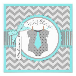 Aqua Tie Chevron Print Baby Shower Personalized Invitations