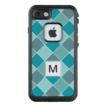 Beach Themed Aqua Tile Pattern custom monogram phone cases