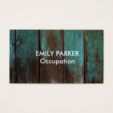 Professional Business Aqua Tinted Distressed Rustic Wood Professional Business Card