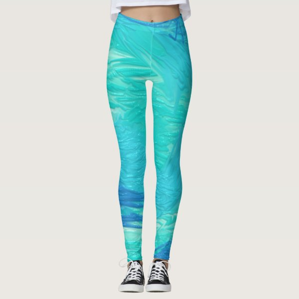 Aqua toned realistic abstract watercolor pattern leggings
