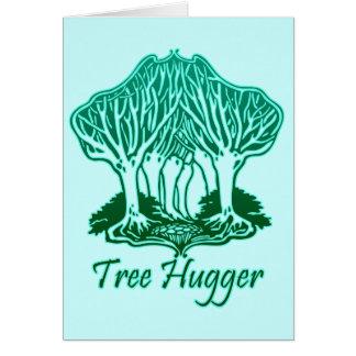 Aqua Tree Hugger Nature Environmentalist Card
