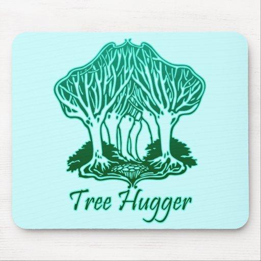 Aqua Tree Hugger Nature Environmentalist Mouse Pad