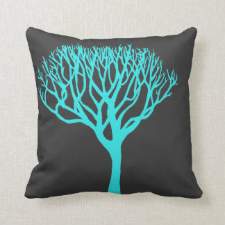Aqua Tree Silhouette Throw Pillow