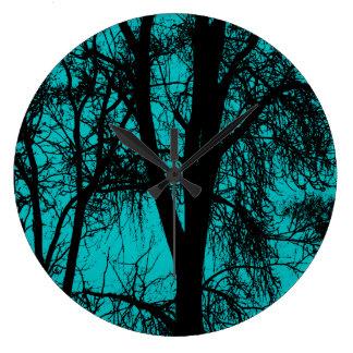 Aqua Trees Silhouette Round Clock