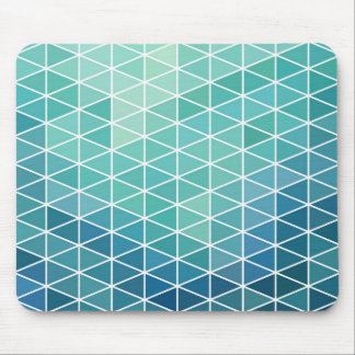 Aqua Triangle Geometric Design Mouse Pad