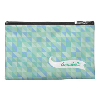 Aqua Triangle Pattern Zippered Name Bagette Bag! Travel Accessory Bags