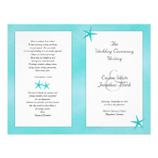 Aqua Tropical Catholic Ceremony Wedding Program