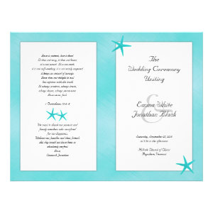 Aqua Tropical Catholic Ceremony Wedding Program Custom Flyer