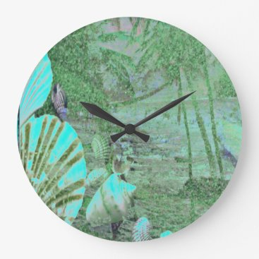 Beach Themed Aqua Tropical Island Wall Clock With Shells.