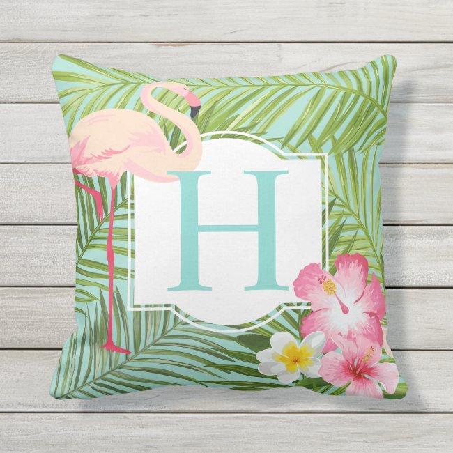 Aqua Tropical Monogram | Pink Flamingo and Flowers Outdoor Pillow