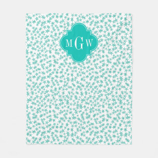 Aqua / Turq White Stars Teal Quatrefoil 3 Monogram Fleece Blanket