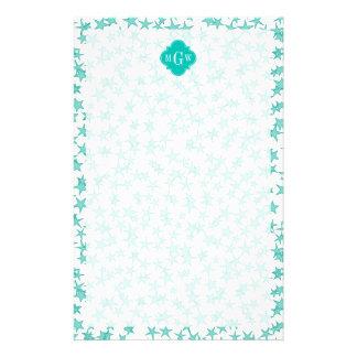 Aqua / Turq White Stars Teal Quatrefoil 3 Monogram Stationery