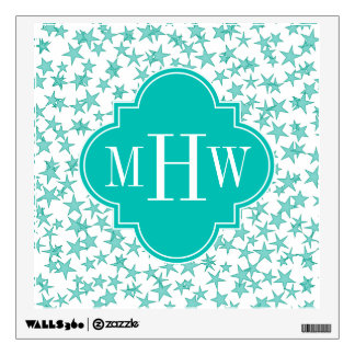 Aqua / Turq White Stars Teal Quatrefoil 3 Monogram Wall Sticker