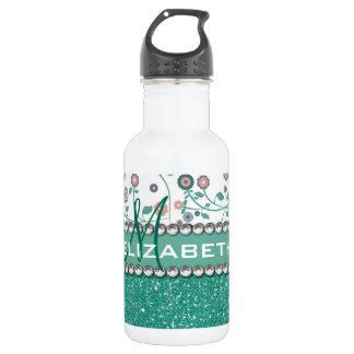 Aqua Turqoise Monogram Flower Glitter Pattern 18oz Water Bottle