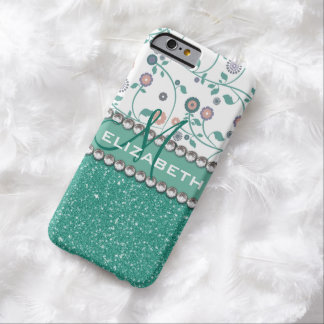 Aqua Turqoise Monogram Flower Glitter Pattern Barely There iPhone 6 Case