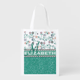 Aqua Turqoise Monogram Flower Glitter Pattern Grocery Bag