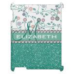 Aqua Turqoise Monogram Flower Glitter Pattern iPad Cases