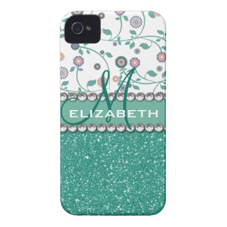 Aqua Turqoise Monogram Flower Glitter Pattern iPhone 4 Case